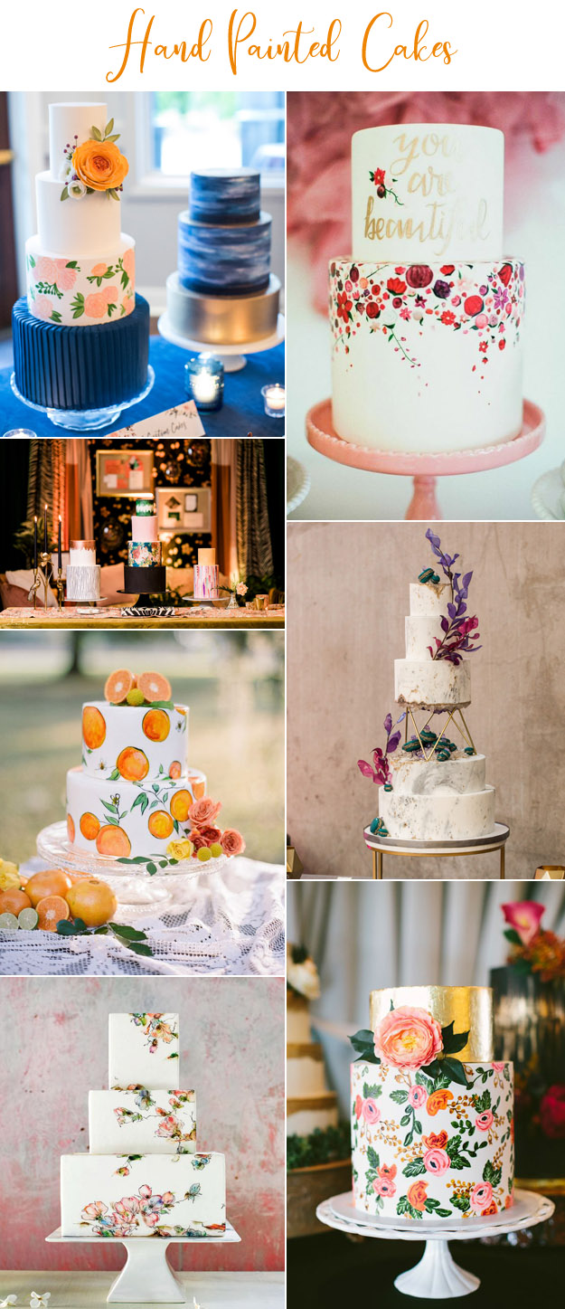 {Image Sources: Orange and floral cake featured on  Weddings In Woodinville  - photo by  Katie Parra Photography ; You are beautful cake featured on  The Glitter Guide  - photo by  Mr. Haack ; 3 painted cakes featured on  Weddings In Woodinville  - photo by  Alante Photography ; Orange cake featured on  100 Layer Cake  - photo by Emily Katherine; Marble cake featured on  Weddings In Woodinville  - photo by  Amelia Soper Photography ; Butterfly cake featured on  Martha Stewart Weddings ; Floral and gold cake featured on  Ruffled Blog  - photo by  Geneoh Photography }