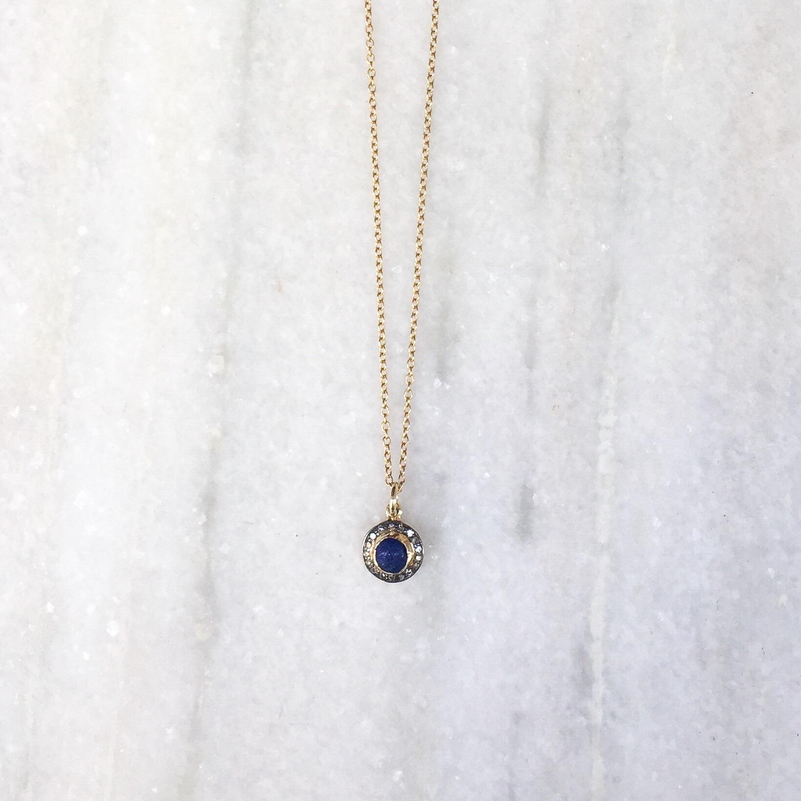 Silver Lapis Lazuli Pouch Necklace