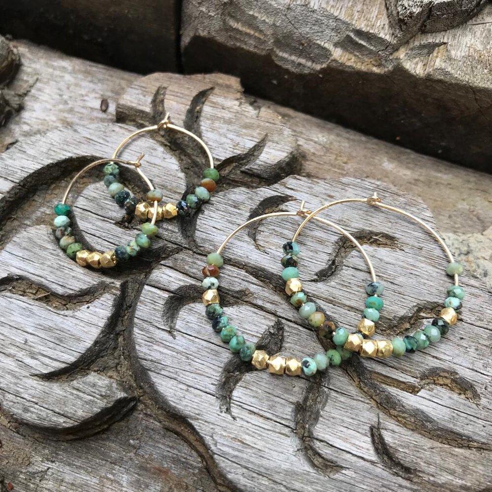 Maxi Turquoise Hoop Earrings