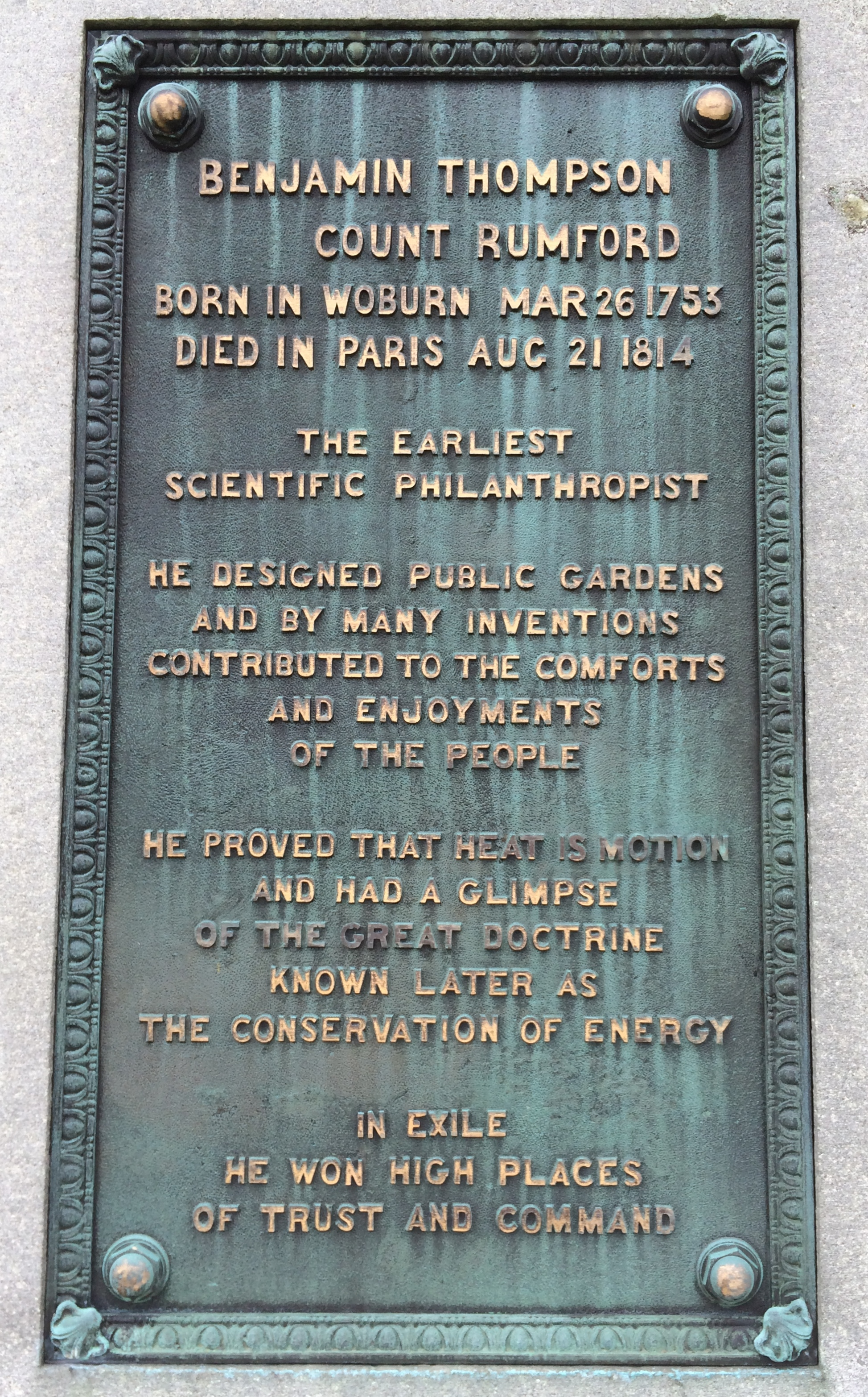 "A proud plaque, honoring a philanthropist and inventor long forgotten. ""In exile he won high places of trust and command."""