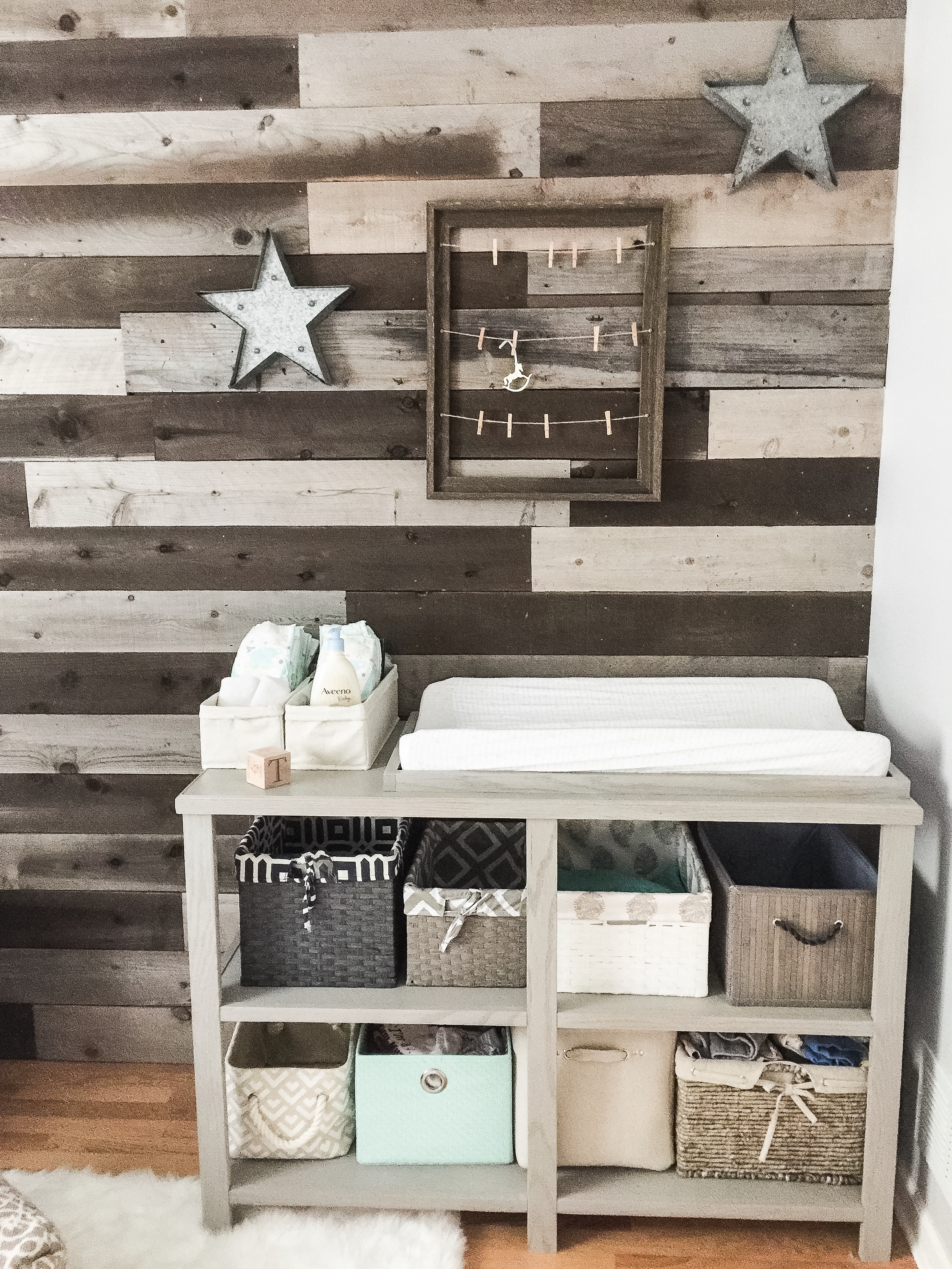 DIY Wooden Changing Table with Basket Storage. How to design a gender neutral nursery. Nursery decor for a boy or girl. #nurserydecor #nurserydesign #genderneutral