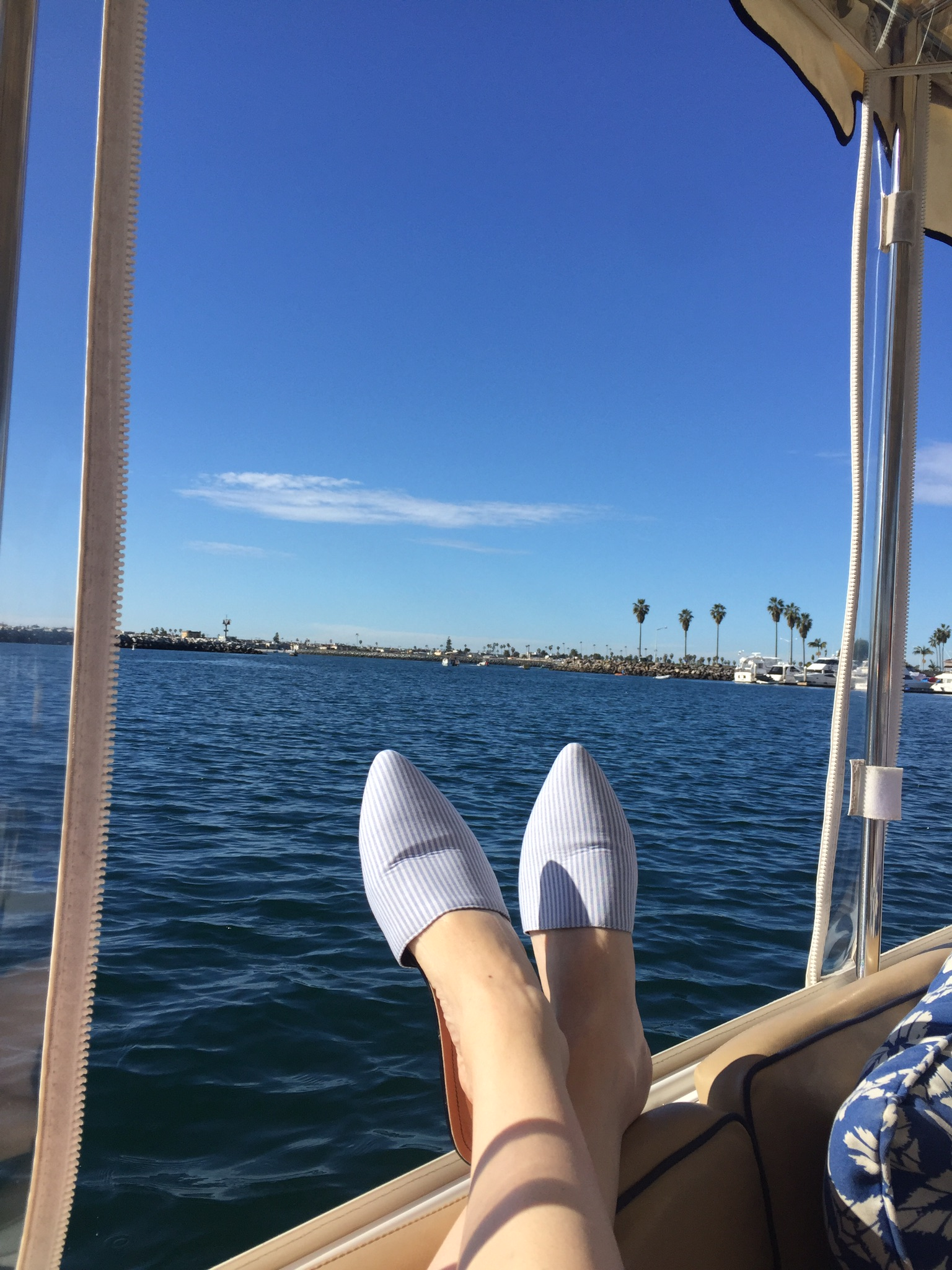 On our electric boat from Duffy Boat Rental - cruising Mission Bay