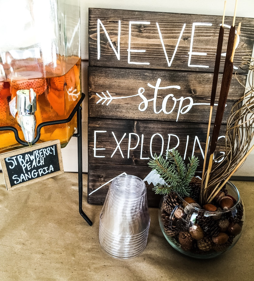 Never Stop Exploring hand made wooden sign