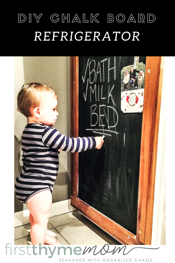 DIY chalk board refrigerator. How to give an old fridge a makeover. This is a perfect idea for an old refrigerator.