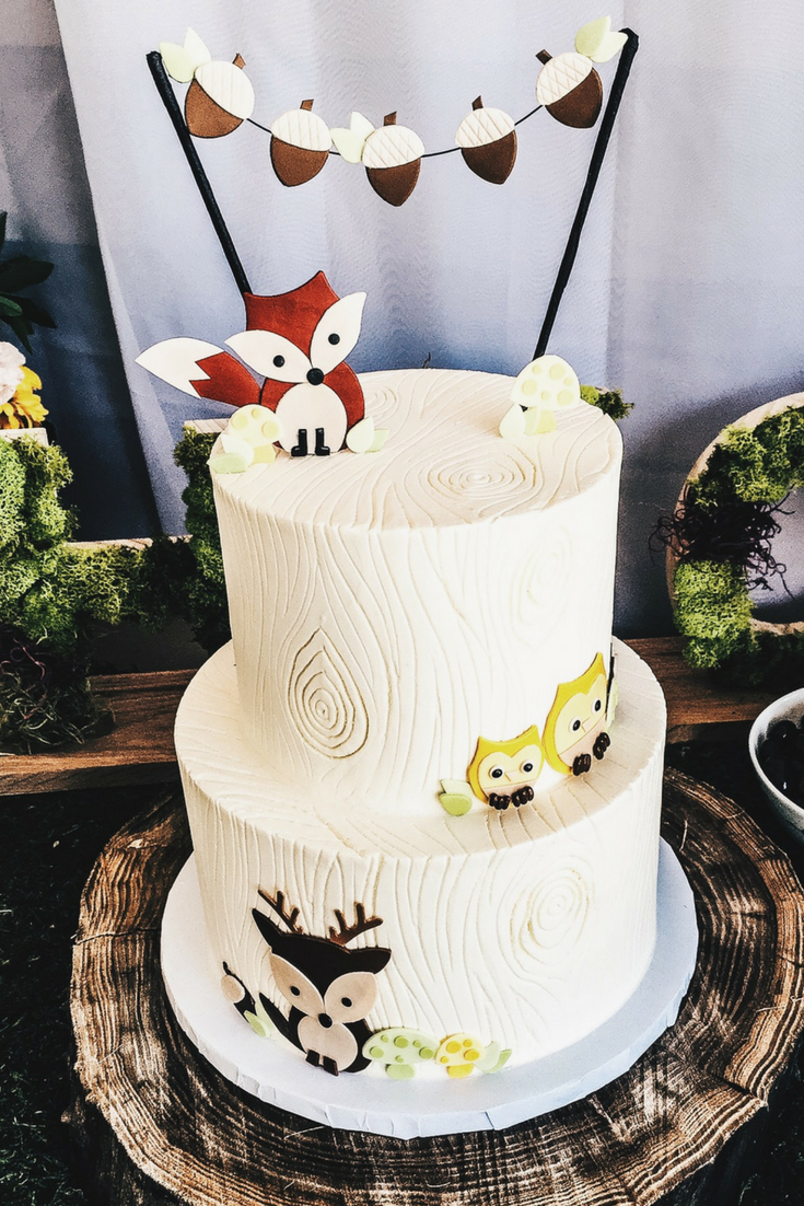 Woodland Animal Themed Party Decor for Birthday or Shower. This cake design would also work well for a lumberjack themed party or a Wild One party.