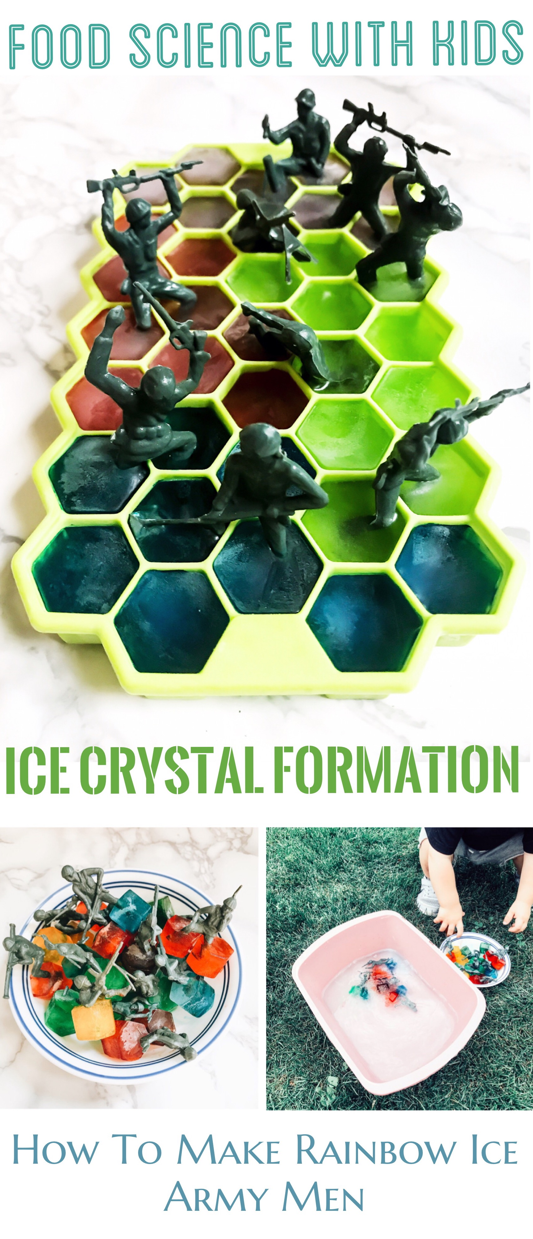 Food Science Experiments For Kids - Rainbow Ice Army Men - How Ice Crystals Are Formed