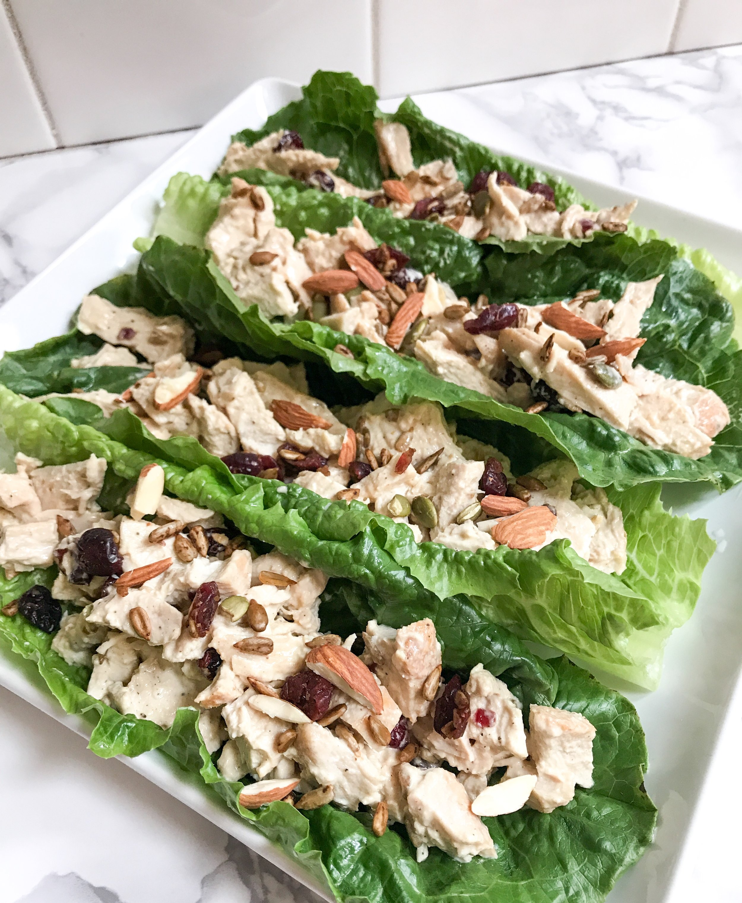 Dijon Mayo Cranberry Chicken Salad Lettuce Boats - Easy Lunch Ideas