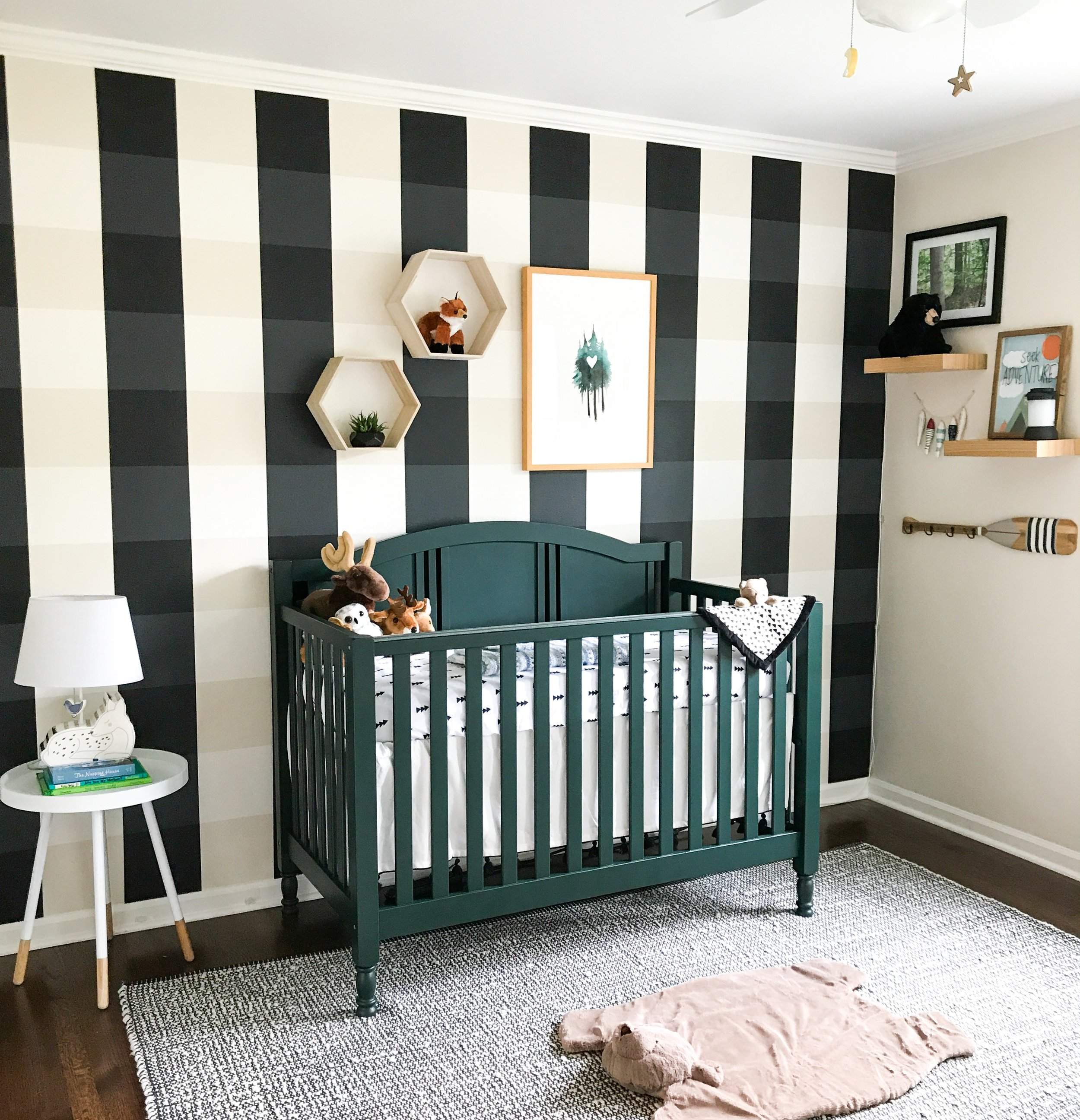 Woodland Creatures Nursery Decor For Baby Boy Or Girl. Outdoor nursery decor, gender neutral. Buffalo Plaid painted nursery wall. Simple, neutral, nursery design.