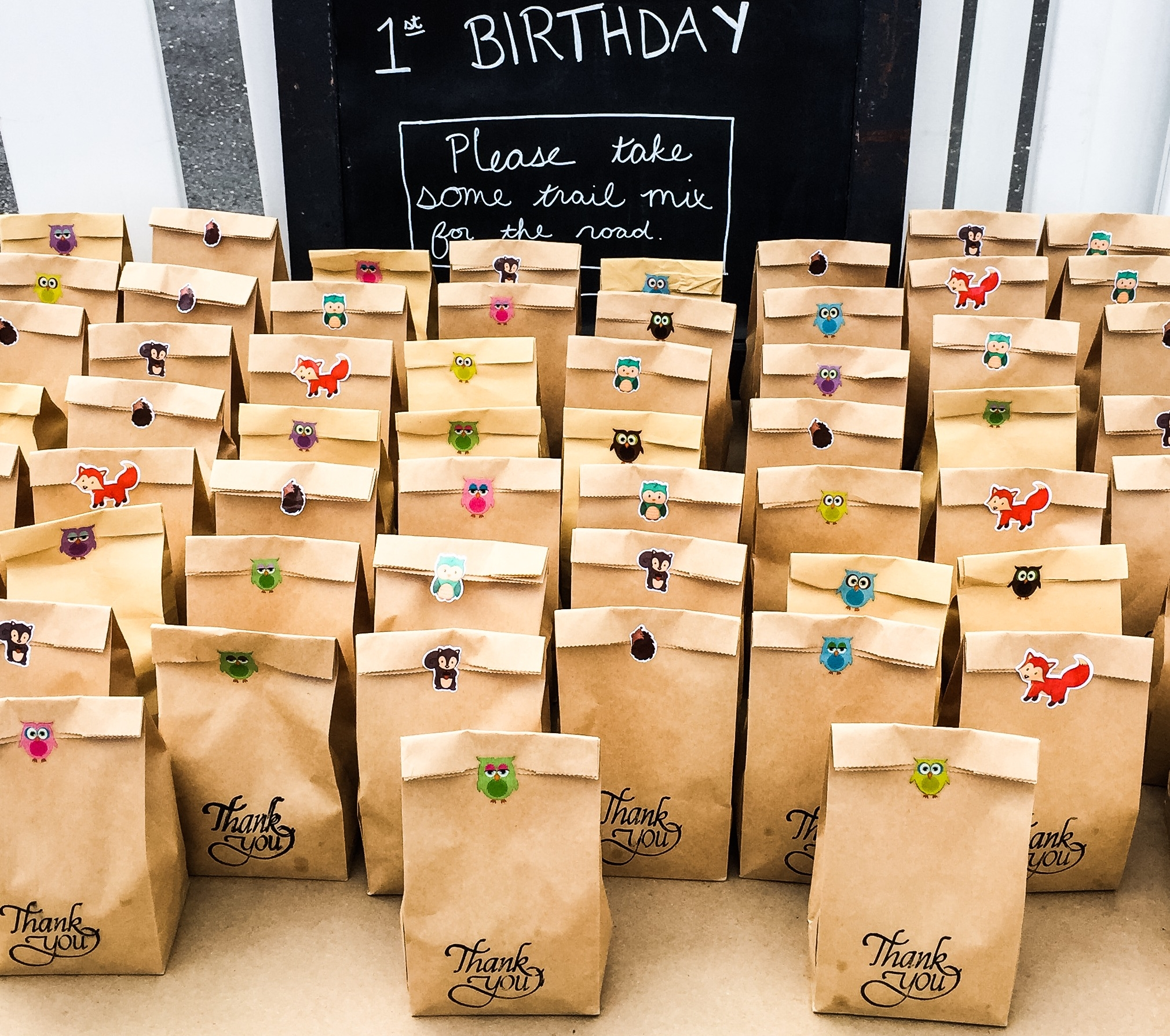 Woodland themed favors for birthday party of shower.
