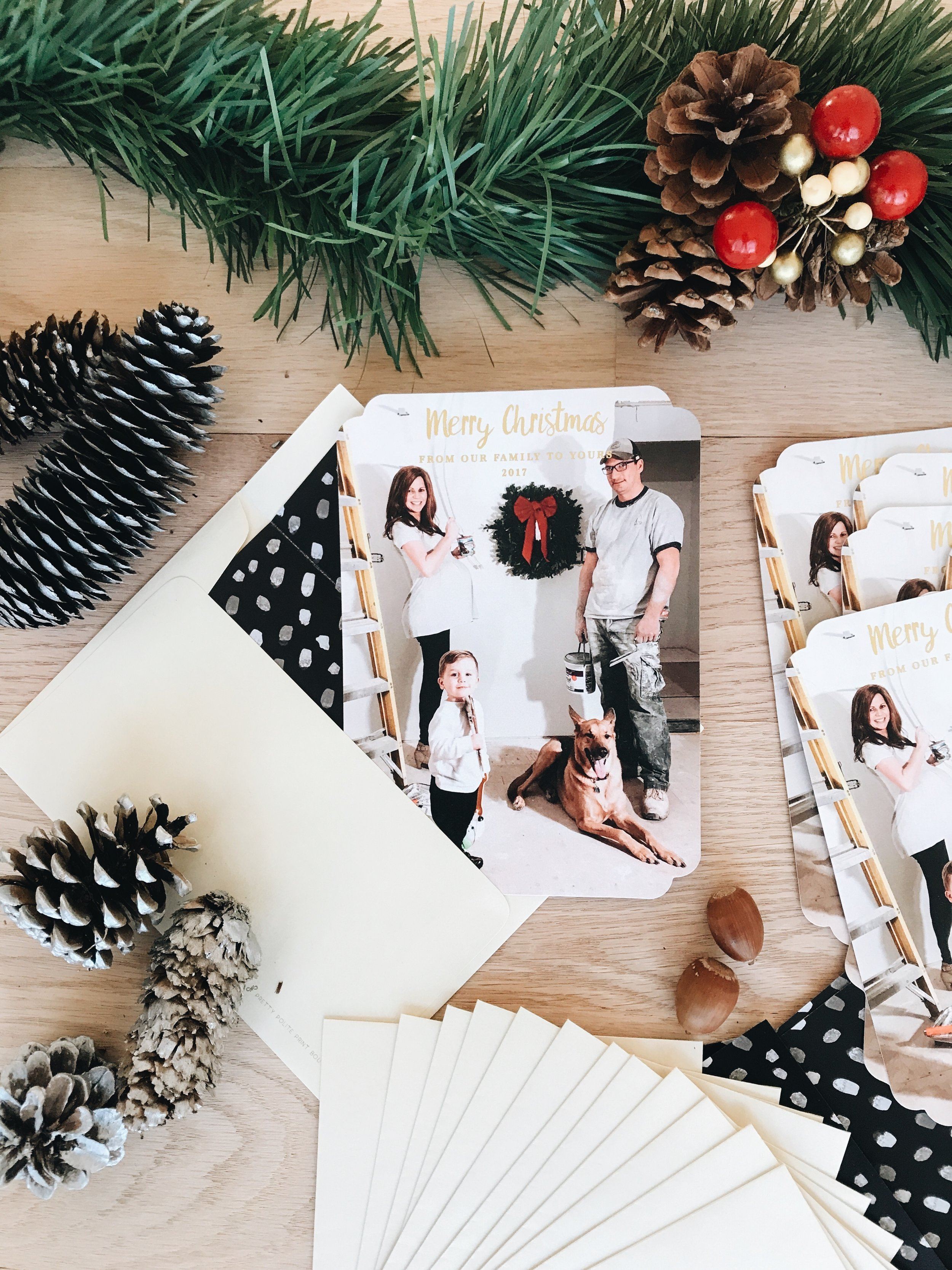 How To Create An Amazing Holiday Card Using Pretty Polite Print Boutique. Staging a photo card for the holidays.