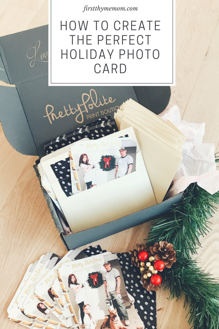 Photo Card Picture Ideas. Staging and Creating A Photo Card For The Holidays. How To Create An Amazing Holiday Card Using Pretty Polite Print Boutique. #sponsored #holidaycards
