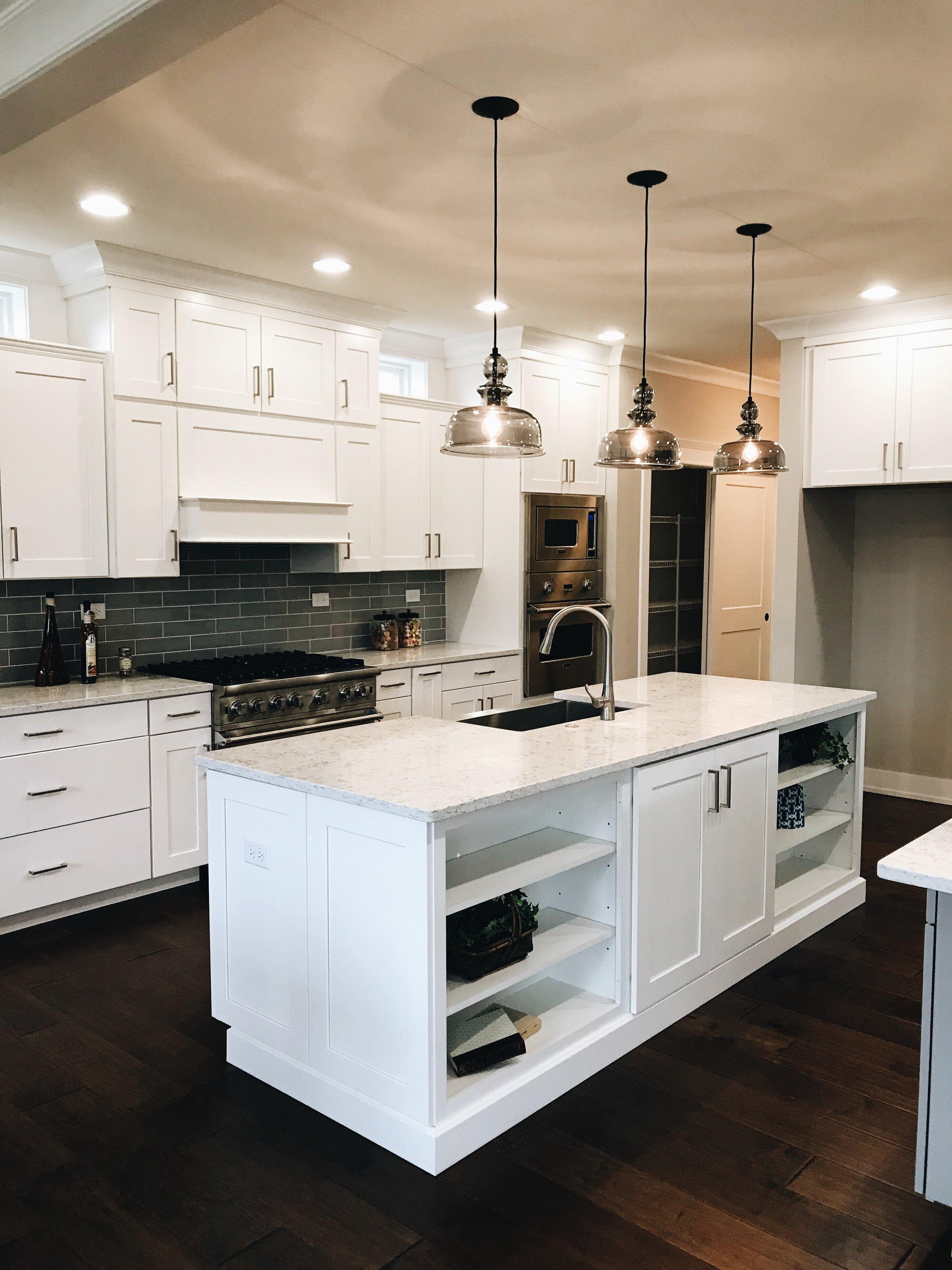 Kitchen Island Design. New Kitchen Design. Lighting for kitchen.