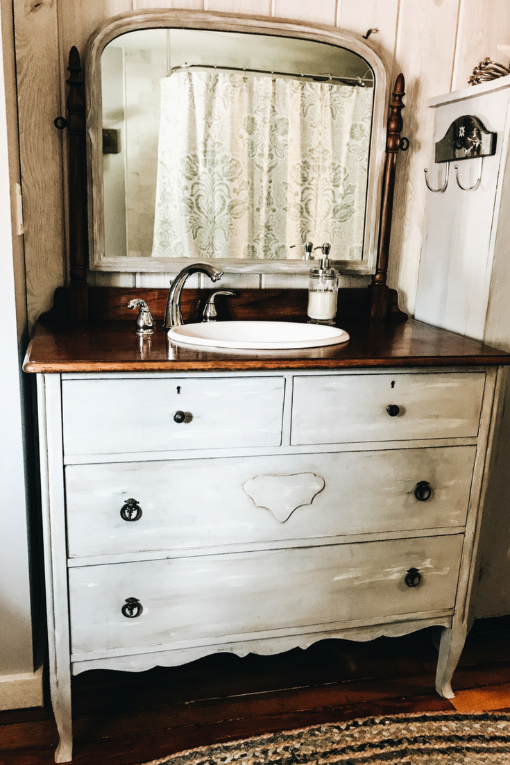 DIY Bathroom Vanity. Turning an antique dresser into a bathroom vanity at a lake house.