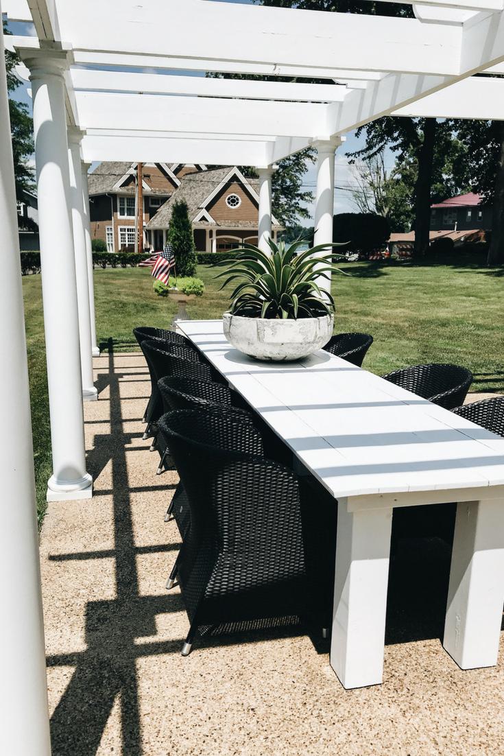 Patio Pergola Designs. Dining table under pergola. Lake House Pergola.