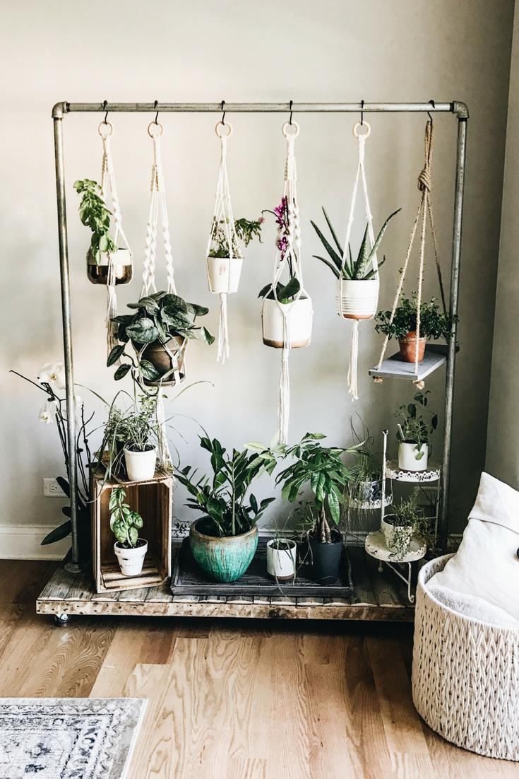 DIY Rolling Herb Garden. How to create an indoor hanging herb garden.