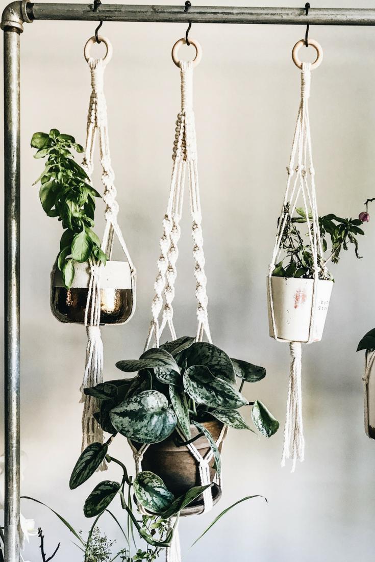 DIY Rolling Herb Garden. How To Make an Indoor Hanging Herb Garden.