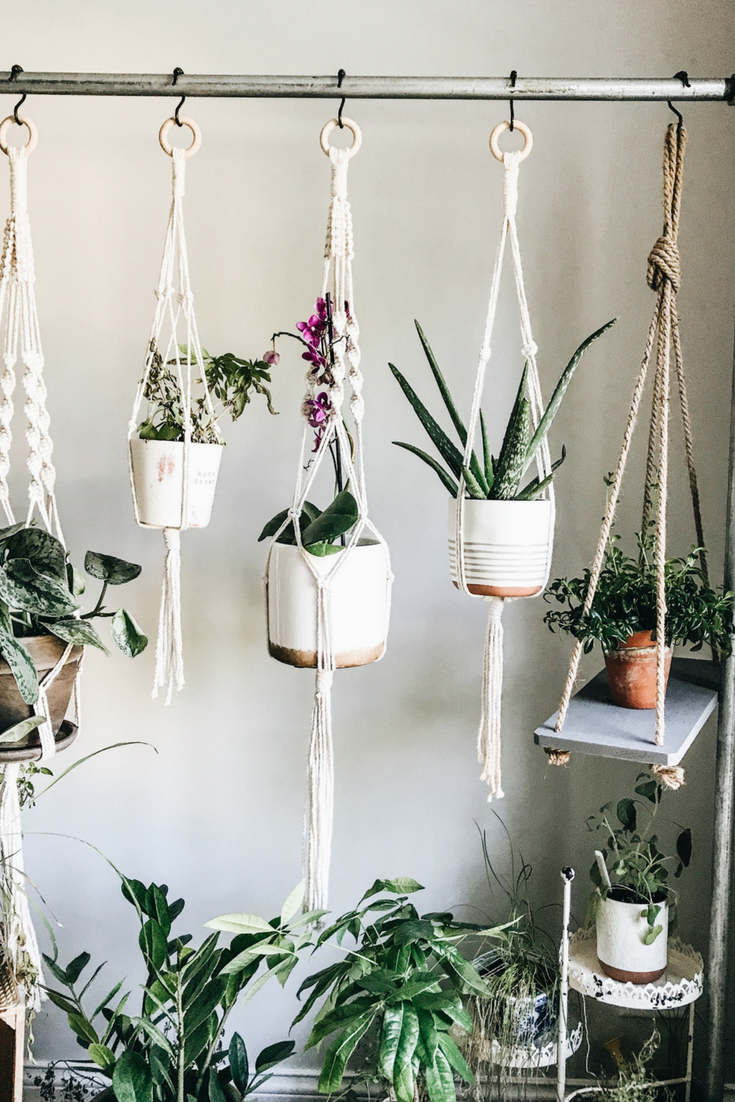 DIY Rolling Herb Garden. Macrame plant holders for a rolling hanging herb garden.