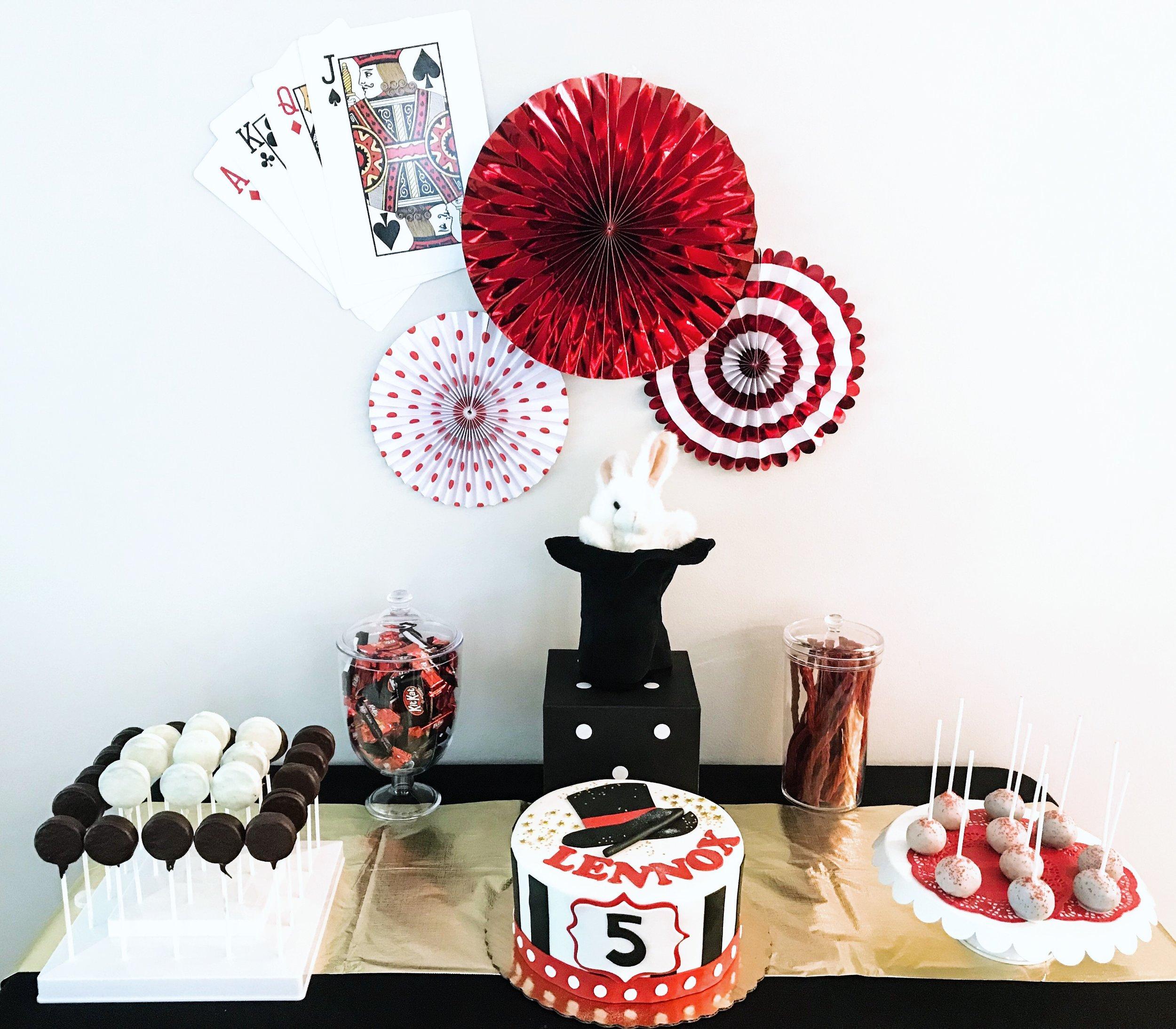 Magic Themed Birthday Party Dessert and Cake Idea. Dessert Table For Magic Birthday Party. Magician Birthday Party Ideas. Magic Birthday Cakes. Magic themed cake pops and oreo pops. Magic hat birthday cake and dessert table. #magic #cake #ideas #birthday #dessert