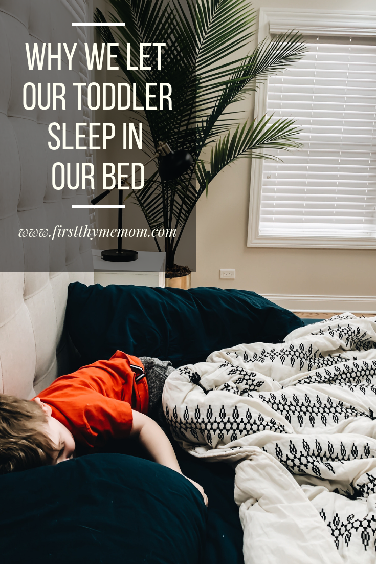 Why we let our toddler sleep in our bed. Letting our kids sleep in our bed. Toddler sleep advice. Ideas for getting your kids to sleep better. #toddler #sleep #ideas