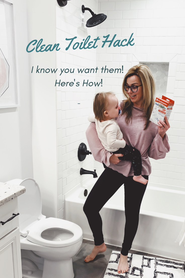 Clean Toilet Hack. How to keep your toilets clean with Fluidmaster.  Do You Want To Know The Secret To A Longer-Lasting Clean Bathroom? Flush 'n Sparkle. #fluidmaster #fixedmytoilet #flushnsparkle #sponsored