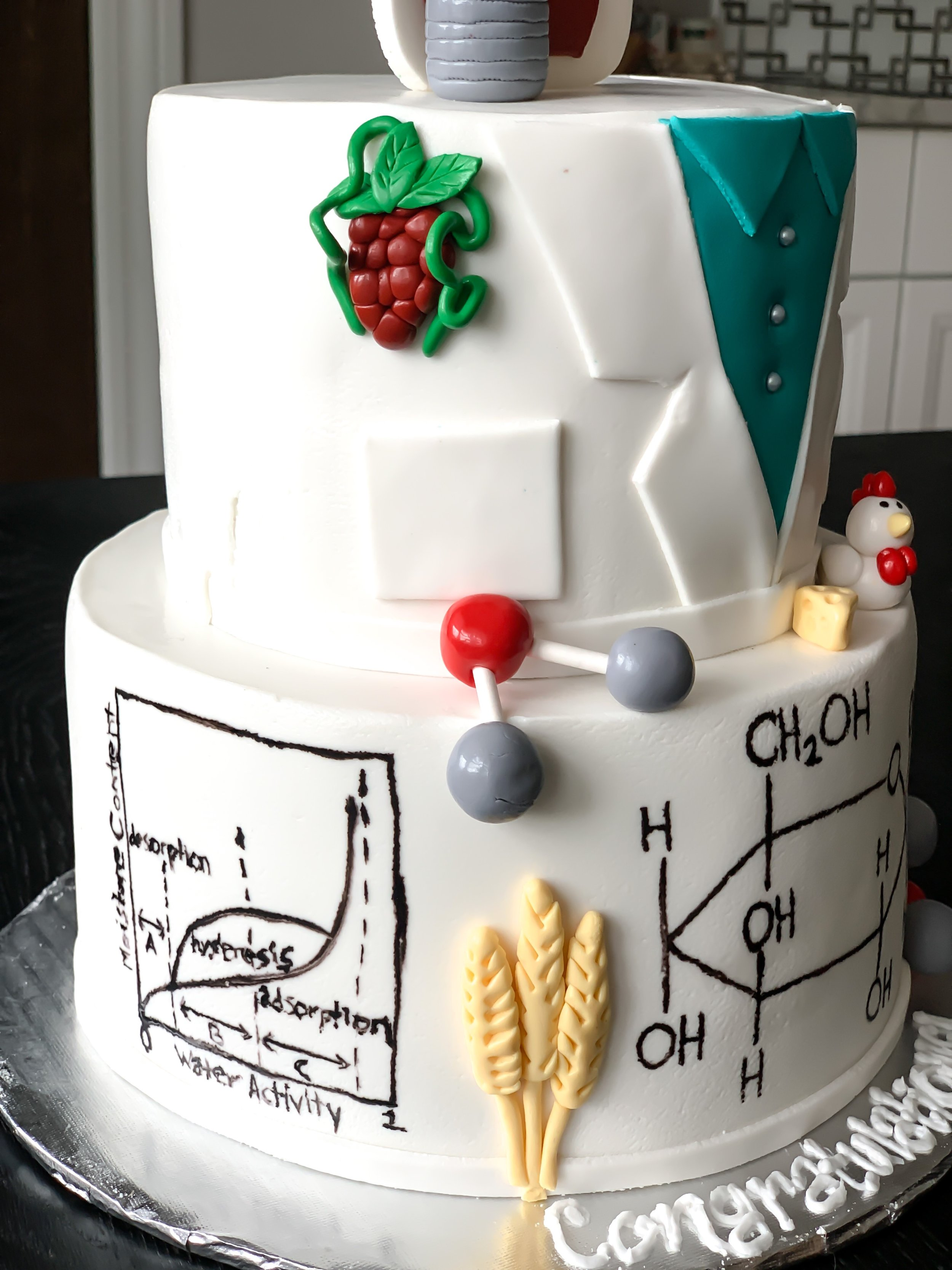 Food Science Cake Decor Ideas. Water Sorption Isotherm Chart on cake. Fermentation cake. Glucose molecule cake. Isotherm cake. Science graduation and birthday cake ideas. Agricultural Science Cake decor.  Food Chemistry cake decor. Erlenmeyer flask cake ideas. Wheat stalk cake. Water molecule and chemical structure cake ideas. Lab coat cake for scientist. Cake ides for scientist. Science cake ideas. Baker science cakes. #FoodScience #Cake #ideas #science #graduation #sorption #isotherm