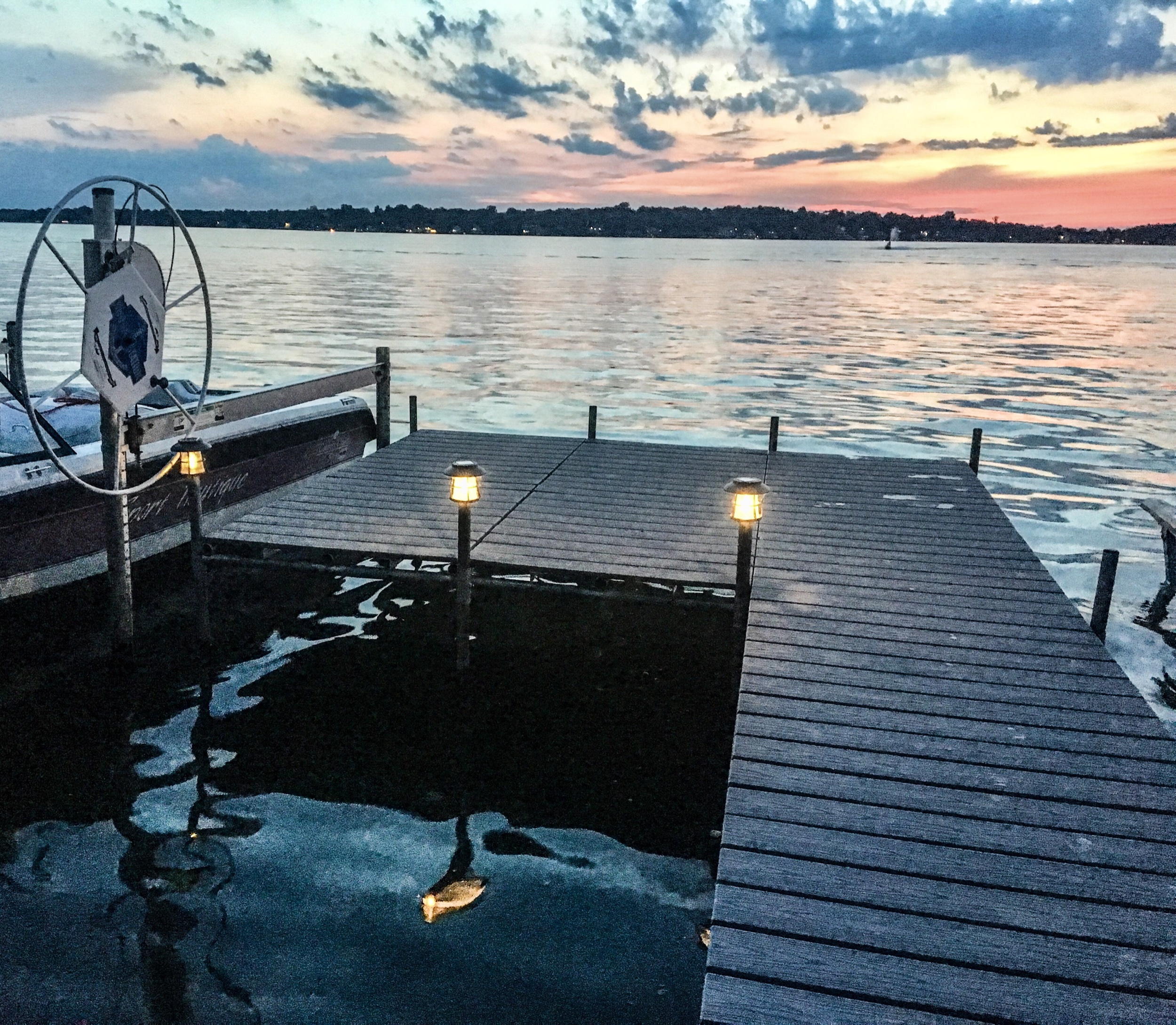 LED Solar Pathway Lights on a dock. Dock lights for a lake house. Lake house dock lights. Lit dock at night. Outdoor light ideas for a dock. #Dock #light #ideas