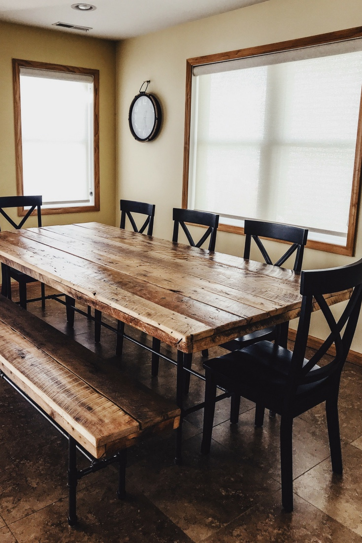Barn wood family dining table. Reclaimed wood table for lake house. Lake house dining room table. #reclaimed #barnwood #table