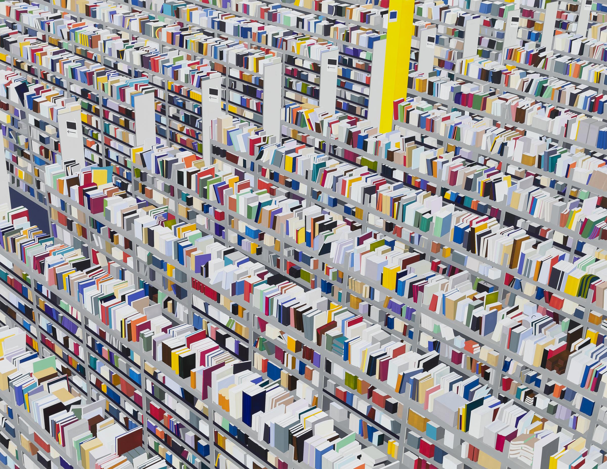 "Amazon Books, 2013. Acrylic on Dibond, 59 x 77"""