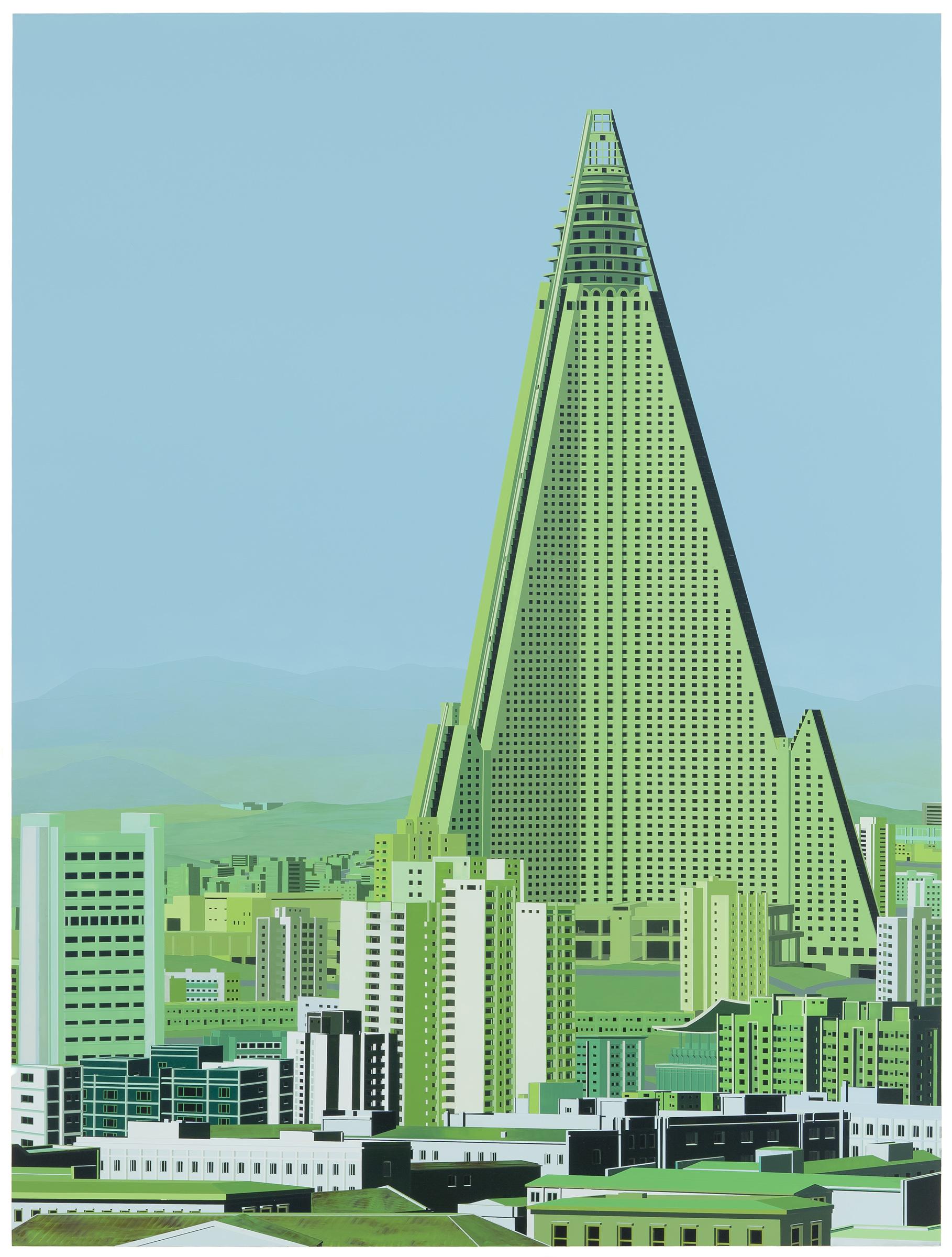 """Ryugyong Hotel, Pyongyang, 2012. Acrylic on Dibond, 75.5 x 57"""""""