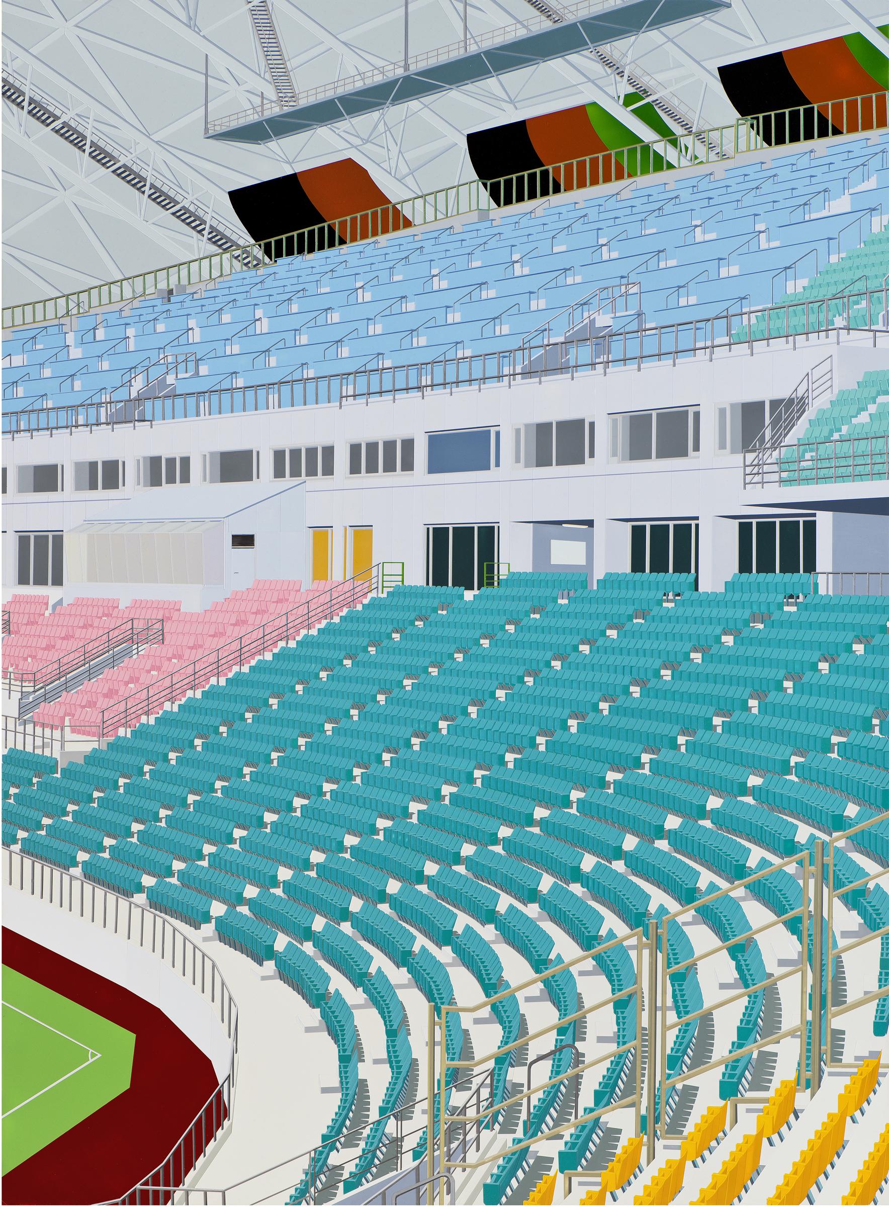 "Stadium, 2012. Acrylic on Dibond, 81 x 59"""