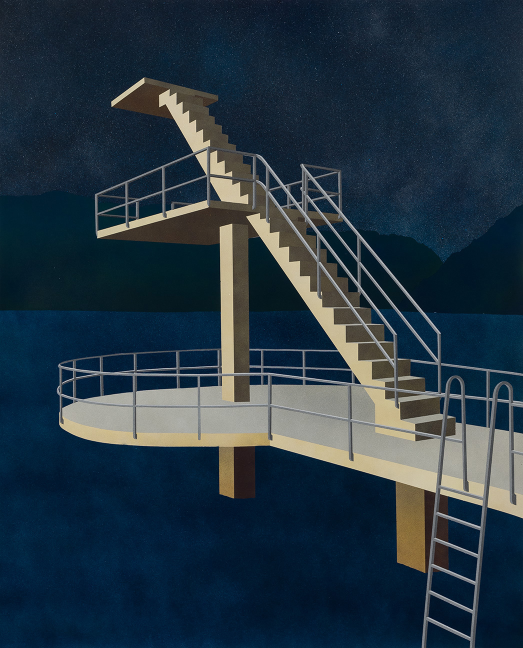 Diving Tower, 2015. Acrylic on paper 40 x 32 inches