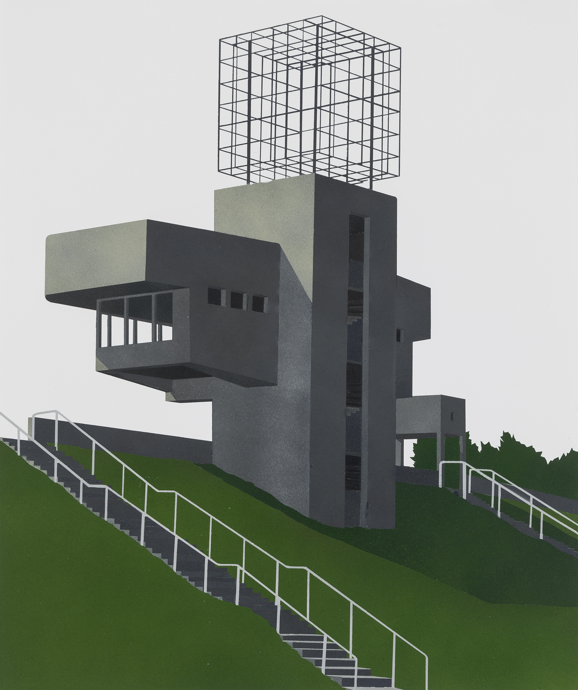 Observation Tower, Lithuania, 2015. Acrylic on paper 16.5 x 13.5 inches