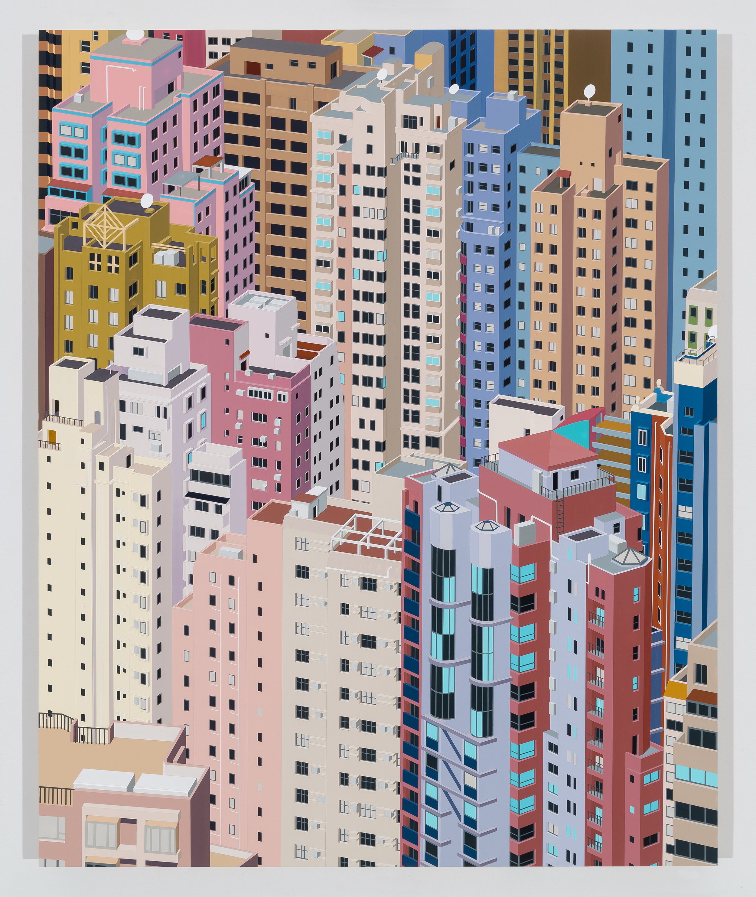 Western District, Hong Kong, 2016. Acrylic on Dibond, 37 x 30""