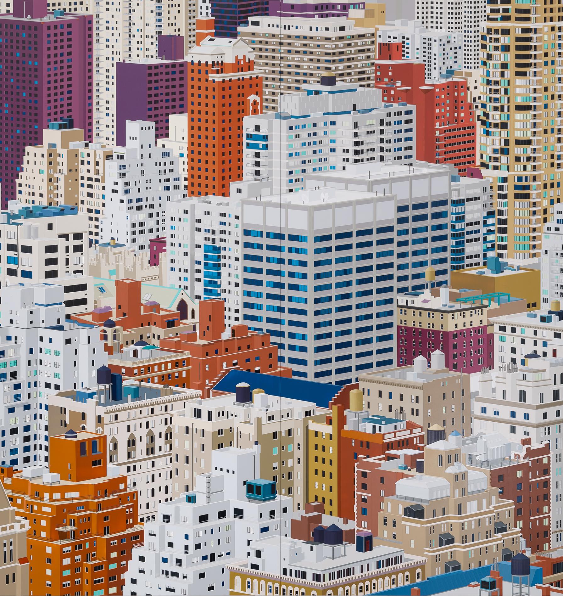"""NYC (UES), 2016. Acrylic on Dibond, 80 x 78"""""""