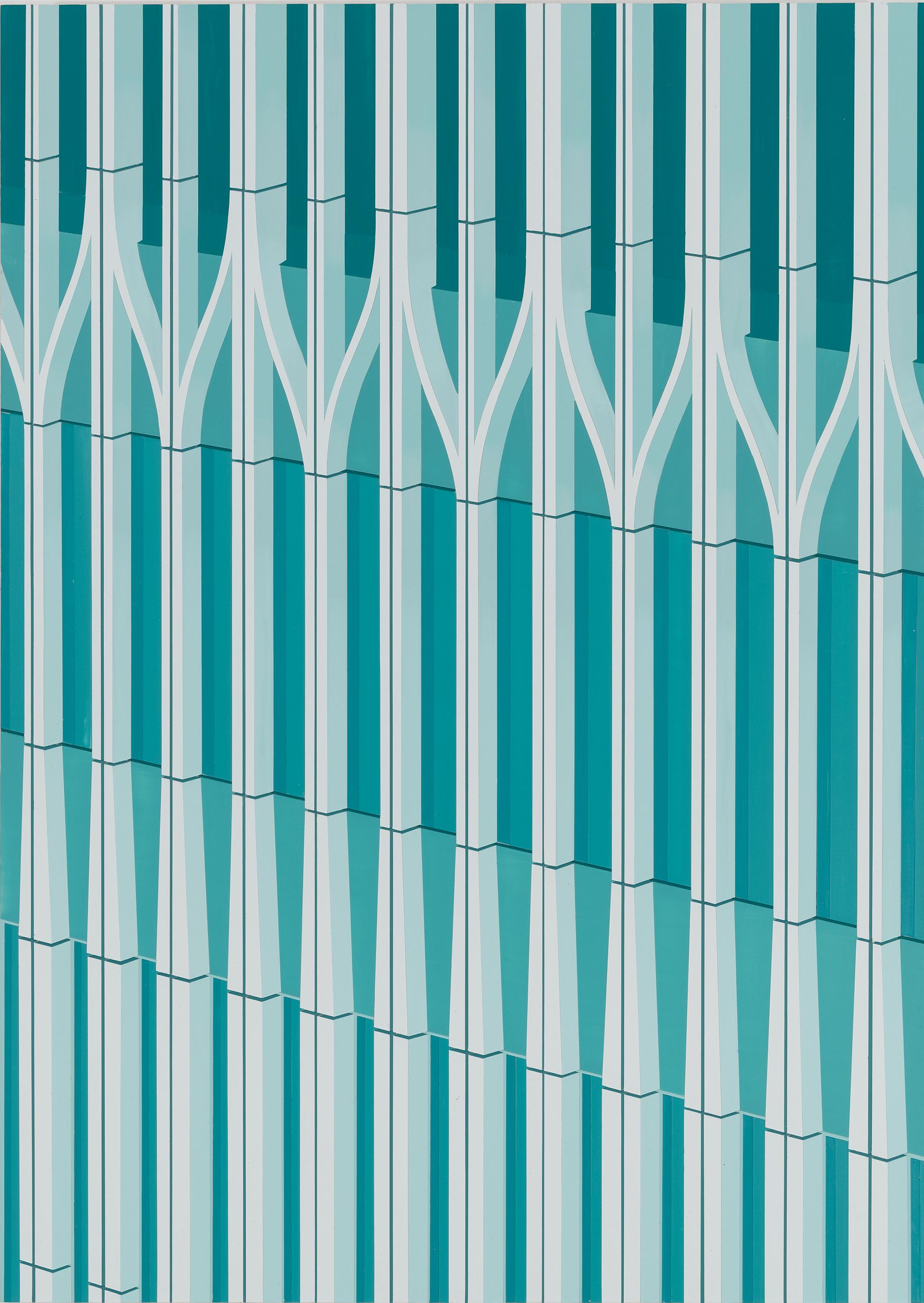 "WTC (Green), 2016. Acrylic on Dibond, 24 x 17"""