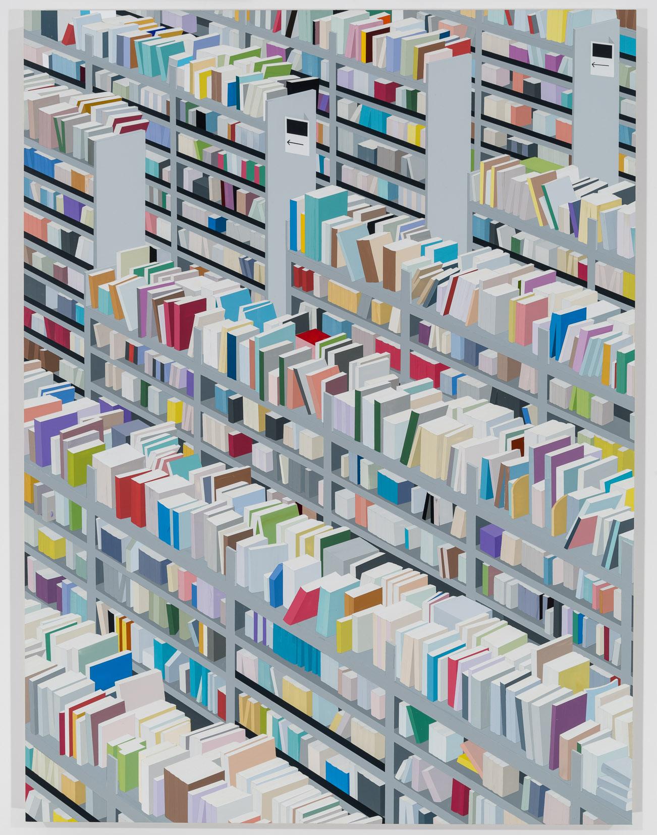 "Amazon Books (Small Version), 2017. Acrylic on Dibond, 32 x 24"""