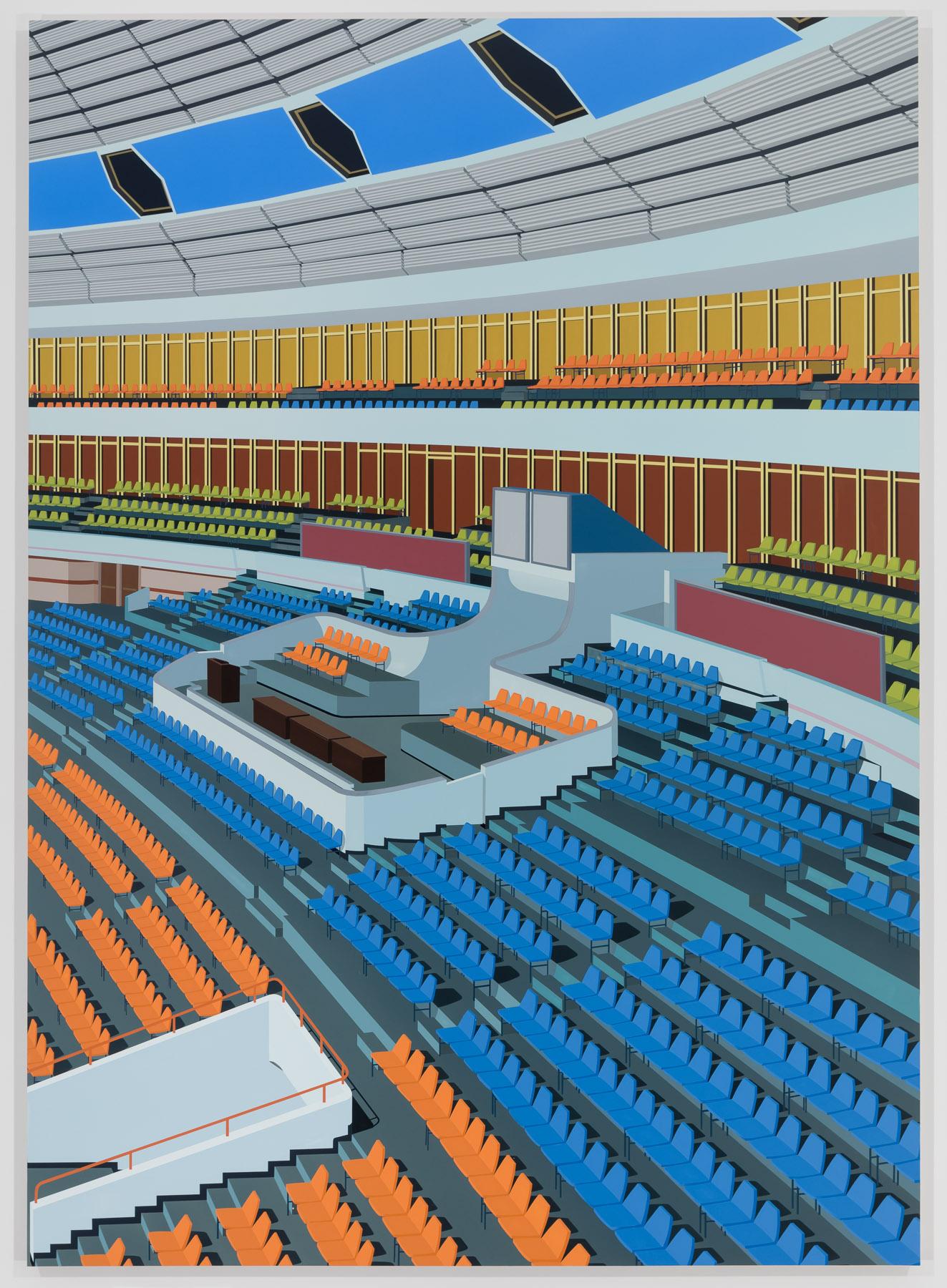 Stadium, Pyongyang, 2018. Acrylic on Dibond, 84 x 60 inches (213.4 x 152.4 cm)