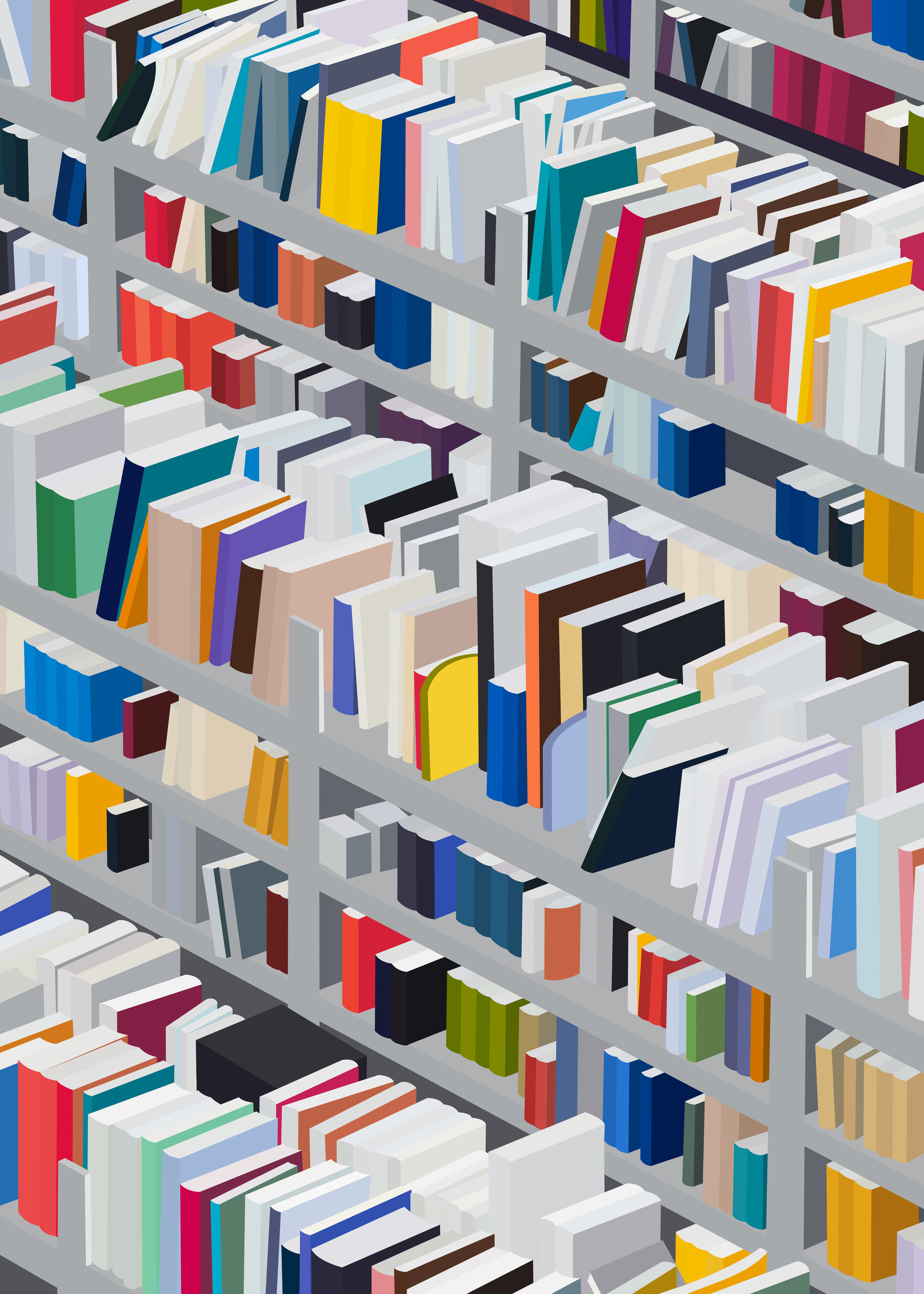 Amazon Books, 2018, archival inkjet and screenprint, 42 x 30 inches image and sheet, edition of 20