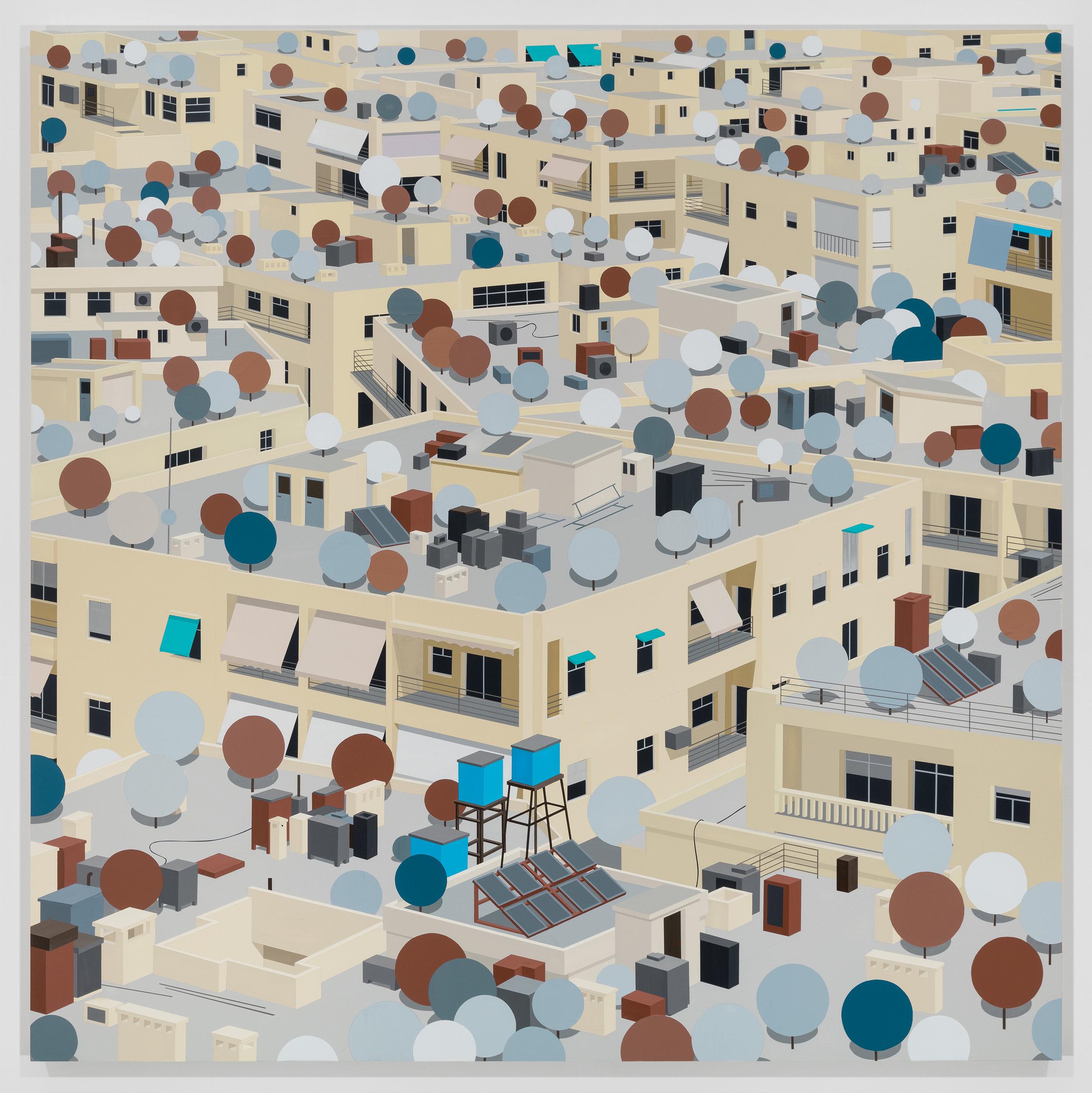 Aleppo, March 15th, 2011. 2018. Acrylic on Dibond, 100 x 100 cm