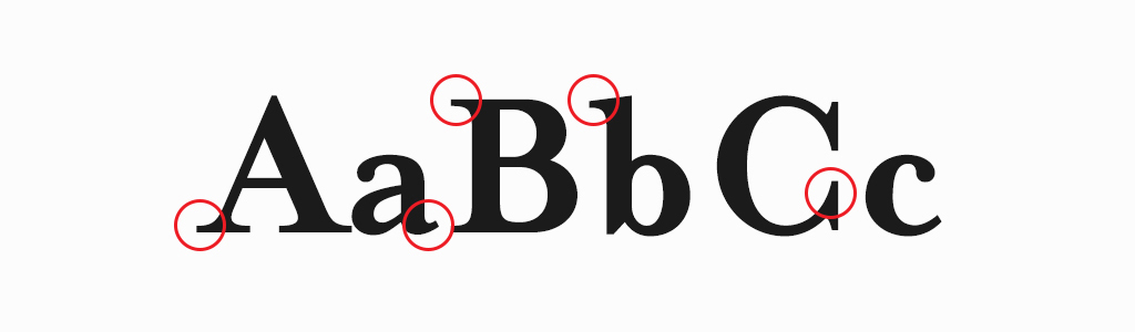 Serifs are the small lines on the ends of some of the strokes.