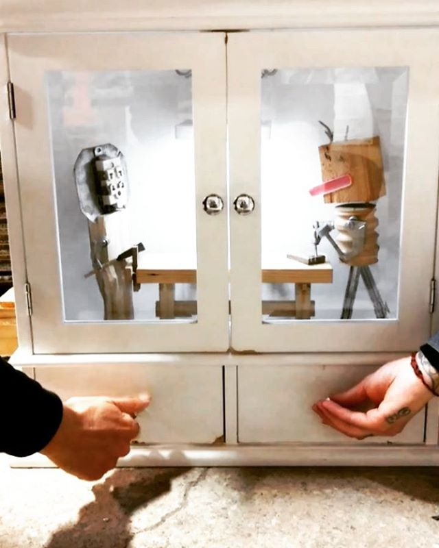 """""""Cabinet Shop,"""" a little toy vignette I made for @theloadingdockinc, as my example of creative material reuse. 🗜️🔩 Thank you to The Loading Dock for including my work in their space, and always supporting @aworkshopofourown! #woodworking #monsters"""
