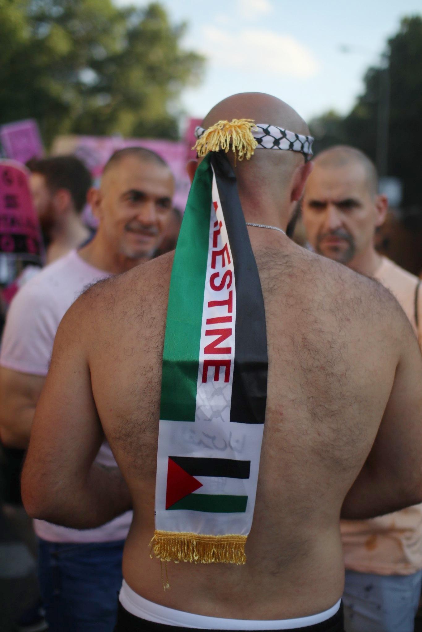 Orgullo Madrid 2018. Grupo de gays palestinos. Foto: María Torres-Solanot.
