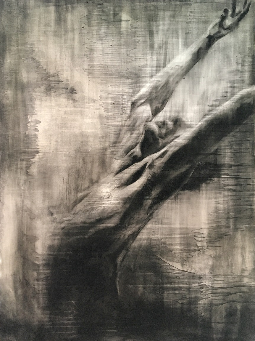 """Redemption of Ashes"" Charcoal, Ash, Acrylic and Wax on Panel. 36x48 inches. Meena Matocha. 2018."