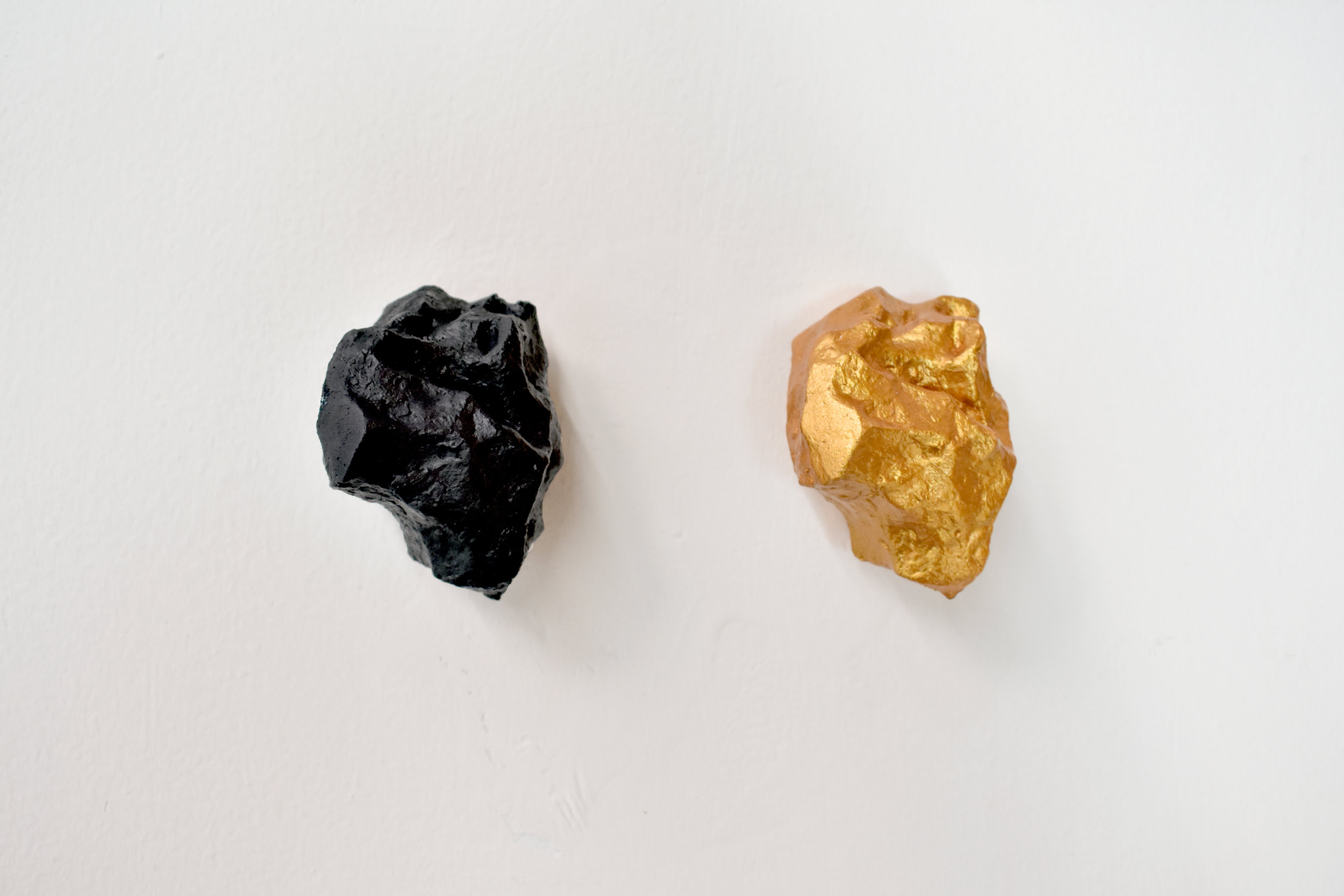 Above & Below, 2018 Cast of an iron meteorite that survived a bombing in 1945 at the Museum of Natural History, Berlin Plaster and acrylic