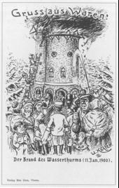 """""""Gruss aus Waren""""Postkarte mit brennendem Wasserturm (um 1905)"""