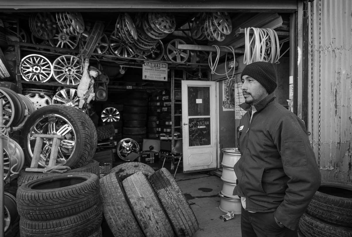 This man came here from Mexico 10 years ago to work in the area and now runs his own tire shop employing a few others.