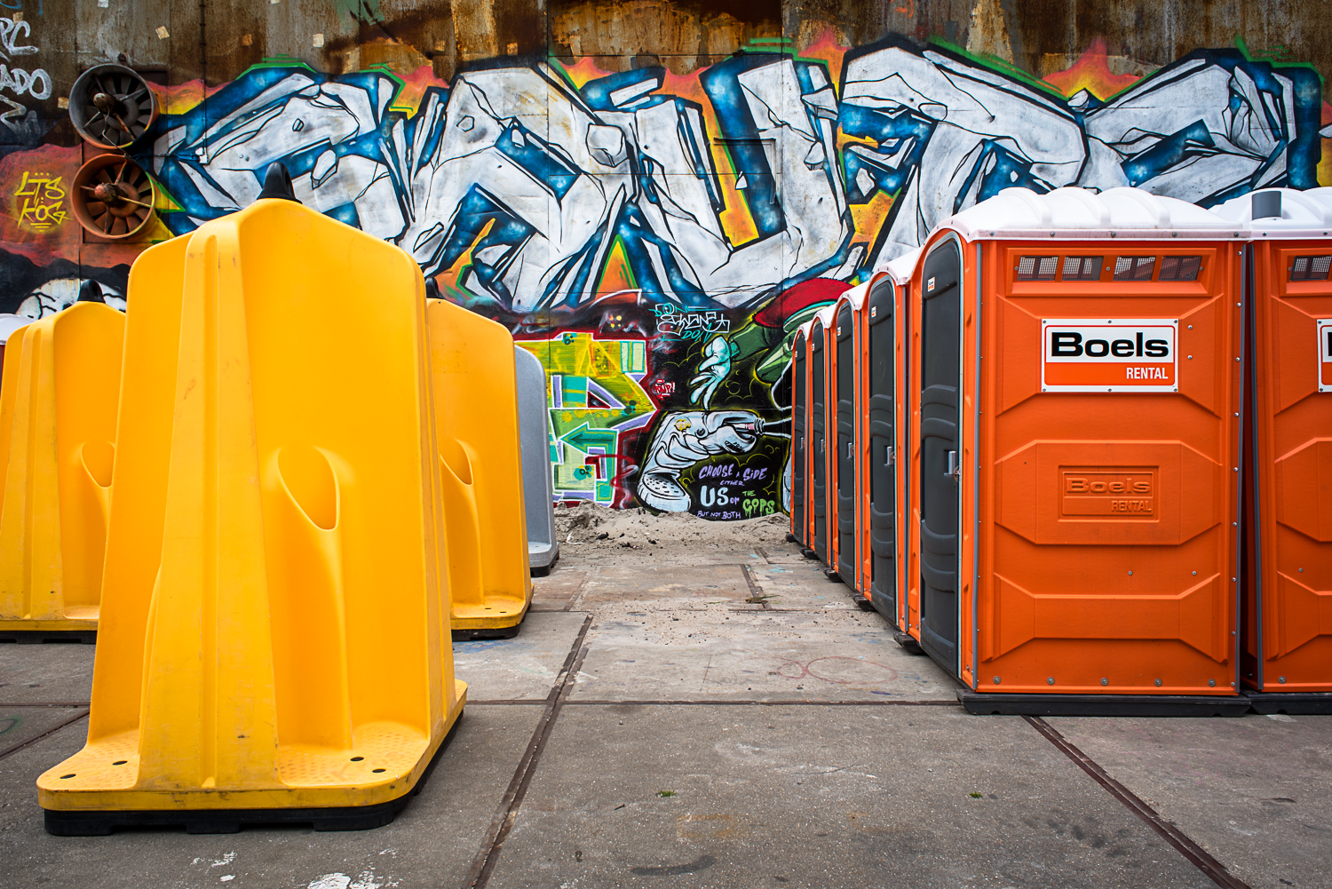 © Ayash Basu. Portable toilets gel well with the background and are moved easily to festival and performance venues as needed, within minutes.