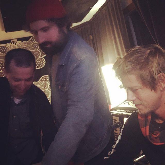 Josh Kaufman, Matt Barrick, and Paul Banks, coaxing the Farfisa into being a VIP. #newmusic #recordingstudio #theisokon #farfisa #vip #luxuryorgan