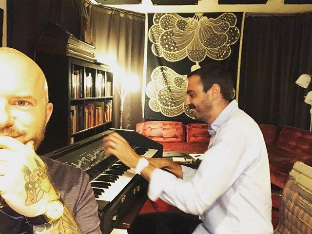 The inimitable @samkassirer playing the inimitable Crumar Orchestrator. Period. #crumar #synth #studio #woodstock #lauracorteseandthedancecards