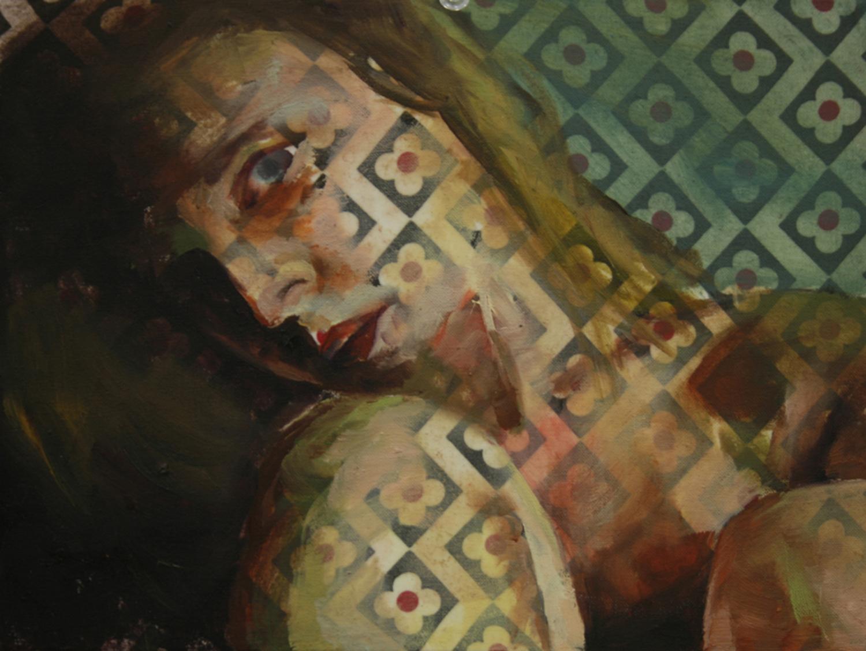 "Tiled   Oil on fabric  6""x4""  2013"
